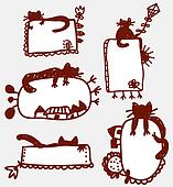 Doodle funny frames with cat cartoons
