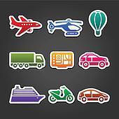 Set stickers color transport