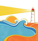Seascape horizon. Vector illustration with lighthouse on white
