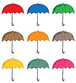 Set of umbrellas. Vector isolated on white background objects.