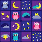 Night sky with owls