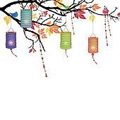 Vector Background with lanterns