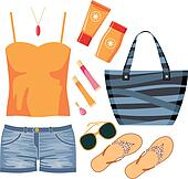 Fashionset of summer clothes