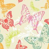 Seamless pattern with flying butter
