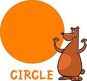 circle shape with cartoon bear