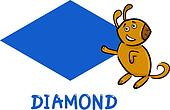 diamond shape with cartoon dog