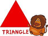 triangle shape with cartoon lion