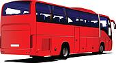 red Tourist bus. Coach. Vector il