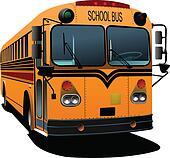 Yellow school bus. Vector illustra