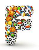 Letter F, gaming balls alphabet