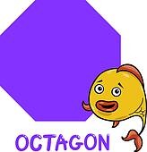 octagon shape with cartoon fish
