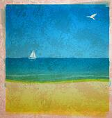 watercolor beach with sea and white yacht on the horizon with bird in the sky on old paper