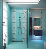 blue bathroom interior scene