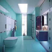 blue bathroom interior scene