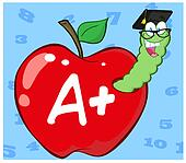 Worm In Red Apple With Graduate Cap