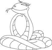 cute snake outlined