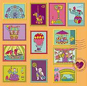 Funny Circus Postage Stamps - for design and scrapbook - in vector