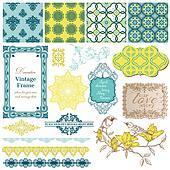 Scrapbook Design Elements - Vintage Tiles and Birds- in vector