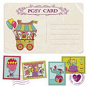 Vintage Party Postcard and Circus Postage Stamps - for invitation, congratulation, scrapbook