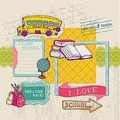 Scrapbook Design Elements - Back to School - for design and scrapbook in vector