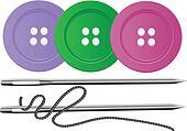 Needle & Thread,Buttons,Vector