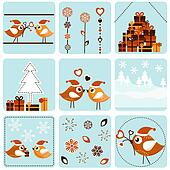 Christmas icons with birds