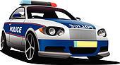 Police car. Municipal transport. Ve