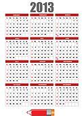 2013 calendar with pencil image. V