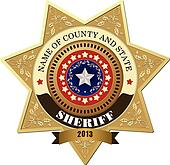 Sheriff's badge on a white backgrou