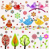 Set. Birds, trees and flowers