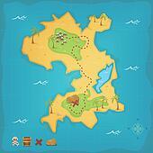 Treasure Island And Pirate Map
