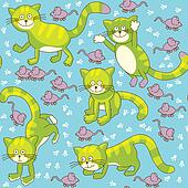 Funny cat and mouse seamless