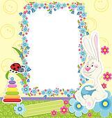 Children frame with rabbit