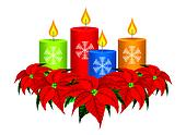 Christmas Candles and Poinsettia Ch