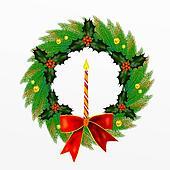 Christmas Wreath with Bow, Holly Le