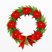 Christmas Wreath with Bow and Poins