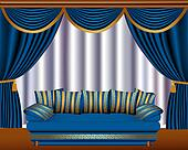 window blinds with cyst and sofa