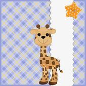Cute teplate for postcard with giraffe