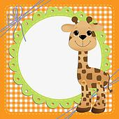 Cute teplate for postcard with giraffe