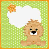 Cute template for postcard with lion