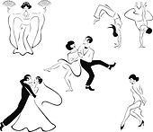 Illustration of five dance styles
