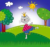 Cat princess. Cartoon character