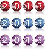 Illustration of New Year balls in 2013