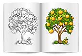 fruit tree drawn on the book bages