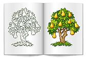 pear tree with ripe fruits on book spread