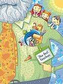 Card WithTeacher And schoolchildren