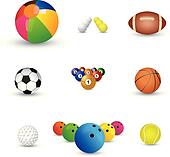 Collection of colorful sports balls illustration. The graphics i