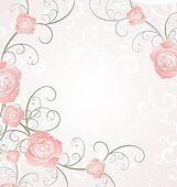 vector roses frame pink, romance love illustration