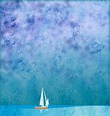 white yacht in blue sea under blue sky grunge background