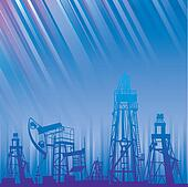 Oil rig and pump over blue luminous rays.
